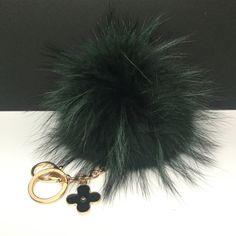 Very dark Green Raccoon Fur Pom Pom bag charm clover flower charm Keychain fur puff ball totem