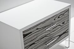 white macassar side table with chrome hardware - roomservicestore.com