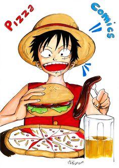Luffy - Pizza Comics by eREIina.deviantart.com on @DeviantArt