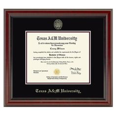 This Texas A&M University diploma frame is crafted from solid wood in the USA. Proudly display your Texas A&M Diploma with museum quality conservation mounting materials to showcase and protect your Texas A&M University diploma.