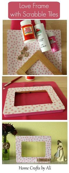 """Love Frame with Scrabble Tiles. Easy to make decorated frame with cute scrabble tiles that spell out """"love""""."""