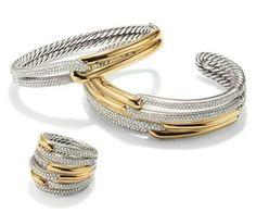 Willow FiveRow Open Bracelet with Diamonds David Yurman