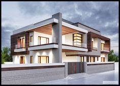 Renders Exterior on Behance Modern Exterior House Designs, Design Exterior, Modern House Design, Bungalow House Design, House Front Design, Modern Bungalow House, Modern House Plans, Front Elevation Designs, Kerala House Design