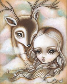 """This is an 8""""x10"""" fine art print of my original painting, """"Deer Spirit"""". It is professionally printed using Epson Ultrachrome professional archival"""