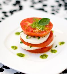 caprese salad with basil vinaigrette.