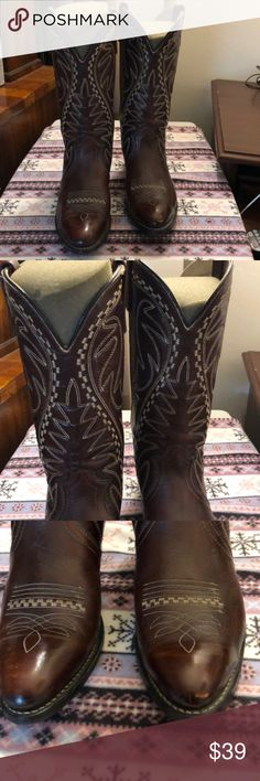 Men Brown Leather Cowboy Made in Brazil 9 Med In very good condition we have a pair of men's brown leather cowboy boots made in Brazil size 9 medium unbranded Shoes Cowboy & Western Boots