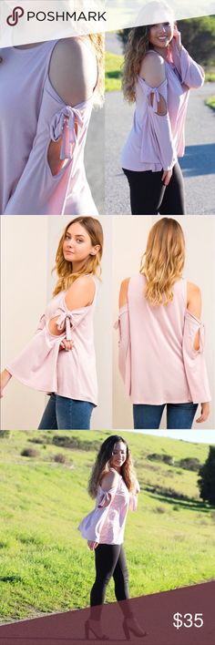 Pink Bow Shoulder Blouse DETAILS:  * Blush Pink * Open Shoulder Bow Detail * Bell Sleeve Style  * 72% Modal 28% Polyester   Model is wearing size Small.   S: 40in B, 26in L, 16in Arm Inseam M: 42in B, 27in L, 17in Arm Inseam  Large: 44in B, 27in L, 17in Arm Inseam  SKU:  •••••••••••••••••••••••••••••••••••••••••••  Hello! I'm Monika. I'm a Boutique Owner & Boutique Coach. Welcome to my closet!   Let's keep in touch  Instagram: @monikarosesf YouTube: MonikaRoseSF Snapchat: itsmonikarose…