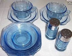 Federal Glass Company Madrid Pattern Blue Depression Glass Dishes