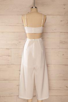 Ardross White - White waist cut-out wide leg jumpsuit