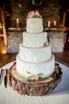 Unique wedding cake idea - white-on-white mountain pattern on wedding cake decorated with pink roses displayed on wooden slice. Perfect for a Colorado mountain wedding! {Alison Rose Photography}