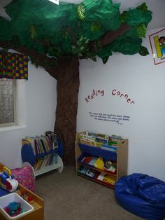 Daycare paper tree in our reading corner.