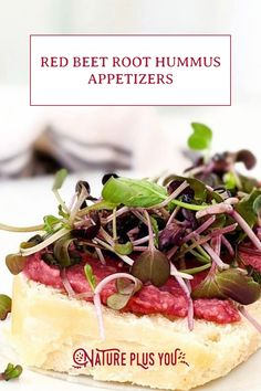 Toasted ciabatta bread, red beet root powder hummus and microgreens makes the perfect afternoon snack or dinner party appetizer.