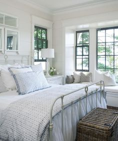 Via July 2013 House and Home A beautiful bedroom decorated the country style. Love the dark mullions on the window.