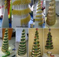 Christmas DIY: 25 gorgeous Christmas decorations you can make yourself Homemade Christmas Decorations, Christmas Tree Crafts, Holiday Crafts, Christmas Holidays, Holiday Decor, Xmas Tree, Christmas Villages, Pasta Crafts, Diy Crafts