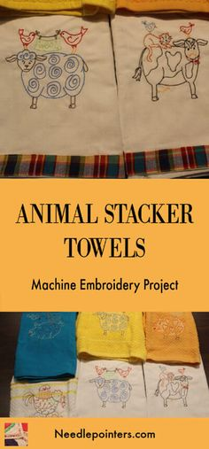 These whimisical Animal Stackers Machine Embroidered Towels would make a great gift for the holidays. These cute towels stitch up quickly with their outline designs. Stitch the pig, cow, sheep or chicken. Outline Designs, Machine Embroidery Projects, Hanging Towels, Embroidered Towels, Patriotic Crafts, Types Of Embroidery, Types Of Craft, Embroidery For Beginners, Spring Crafts