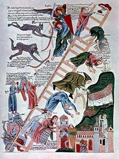 Hortus Deliciarum: Ladder of Virtues (folio 216r) German Manuscript ca. 1170 CE, Strasbourg (now destroyed)