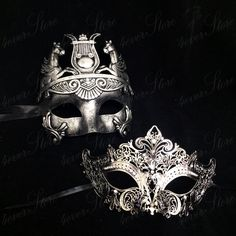 Modern Roman Masquerade Mask Party - Couples Collection Pricing is for both phantom (male) and laser cut (female) masks! Sweet deal for our mask couples Masquerade Wedding, Masquerade Ball, Mascarade Mask, Silver Masquerade Mask, Masquerade Outfit, Couples Masquerade Masks, Wedding Tiaras, Masquerade Costumes, Larp