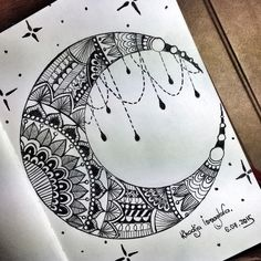 art, arte, artistic, artistico, awesome, beautiful, black and white, cool, design, draw, drawing, estrellas, luna, magnificent, mandalas, moon, patterns, sky, stars, style