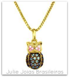 Pendente em ouro 750/18k, quartzo rosa e topázio (750/18k gold pendant with pink quartz and topaz)