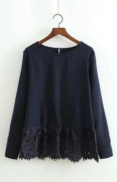 Specifications: Gender:Women Pattern Type:Solid Collar:O-Neck Sleeve Length:Full Style:Casual Decoration:Lace Fabric Type:Broadcloth Clothing Length:Regular Sleeve Style:Regular Material:Polyester Siz