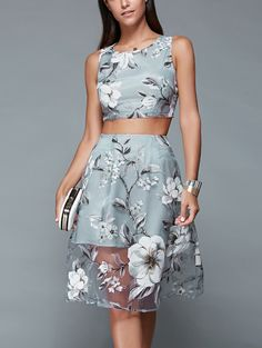 Floral Print Crop Top and Mesh Spliced Skirt Twinset