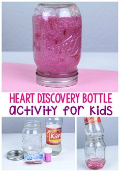 Wow your kids this year with this fun and simple Valentine's Day heart discovery bottle! Use a variety of materials to make your discovery fun endless! Valentine Sensory, Valentines Day Activities, Valentine Day Crafts, Valentine Stuff, Valentine Theme, Educational Activities For Kids, Sensory Activities, Infant Activities, Sensory Rooms