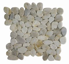 Cloudy White sliced pebble tile is made of natural Asian pebbles that are assembled on interlocking mesh pattern for a seamless designer finish. A great looking version of our regular Couldy White Pol