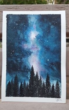 40 Excellent But Simple Pastel Watercolor Paintings To Try This Year - Free Jupiter - Nicole J. - 40 Excellent But Simple Pastel Watercolor Paintings To Try This Year – Free Jupiter - Watercolor Night Sky, Night Sky Painting, Galaxy Painting, Watercolor Drawing, Painting & Drawing, Pastel Watercolor, Watercolor Ideas, Painting Canvas, Watercolor Landscape