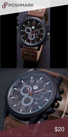 Just in time for Fathers Day! Men's Wrist watch Buy TODAYY I'll Ship TOMORROW! Men's Leather Band Waterproof Analog Quartz Wrist Watch in Coffee NWT. Watch Accessories Watches