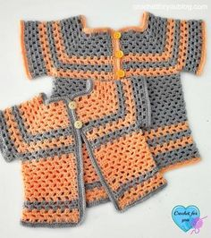 Orange and Grey Granny Square Cardigan which is part of a collection including 10 Free Crochet Cardigan Patterns all from AllFreeCrochet compiled by Nicki's Homemade Crafts - Crochet Cardigan, Crochet Jacket, Crochet Sweater, Crochet Wrap, Crochet Shawl