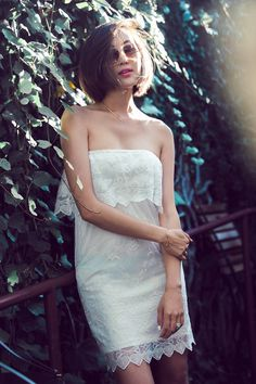 off shoulder, lace dress, white dress, spring, summer, romantic dress, express, chriselle lim