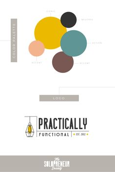 Colorful and modern brand style guide with #fonts, #colors, #logos, #submarks, #pattern design, and #icons for Practically Functional. This red carpet-ready brand identity, designed by Dre Beltrami of The Solopreneur Society, includes everything they need to make their website and social media platforms  memorable, addictive and original.