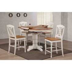 Iconic Furniture Butterfly Back 5 Piece Round Counter Height Dining Table Set - ICOC052