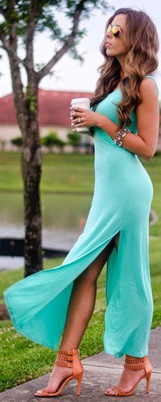 The Girl That Loves Mint Split Maxi Dress