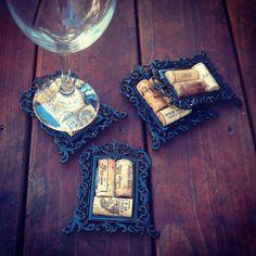 Decorative Wine Cork Coasters in Mini Frames  #DIY #wine #crafts