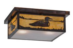 16 Inch Sq Hyde Park Loon Flushmount - 16 Inch Sq Hyde Park Loon flush mountThis Craftsman Signature ceiling fixture featuresstunning images of aquatic birds splashing in a lakecaptured in this wildlife inspired Beige art glass onside panels with Frosted Seeded glass diffuser onbottom of fixture. Brass fixture is complemented with a frame and hardware hand finished in Vintage Copper.Handmade by Meyda Craftsmen in the Yorkville, NY manufacturing facility. Custom colors, styles and sizes…