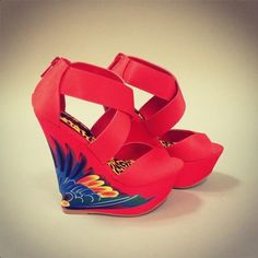 Adorable tropical spring wedges / heels