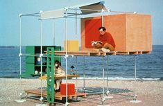 Beach Matrix installation by American architect and designer Ken Isaacs — Johannes Reponen Temporary Architecture, Architecture Design, Landscape Architecture, Enter The Matrix, Modular Structure, Micro House, Urban Furniture, Scaffolding, Stage Design