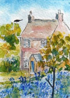 Original ACEO Watercolour Painting: .....BLUEBELL COTTAGE....... | eBay