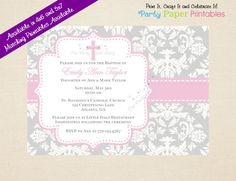 PRINTABLE - Baptism Invitation, Girl Baptism Invitation, Pink Christening Invitation, Girl Christening Invitation by Party Paper Printables on Etsy, $10.00