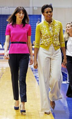 Samantha Cameron and Michelle Obama in Washington Barrack And Michelle, Michelle And Barack Obama, Star Fashion, Fashion Outfits, Women's Fashion, Fashion 2020, Samantha Cameron, Michelle Obama Fashion, American First Ladies