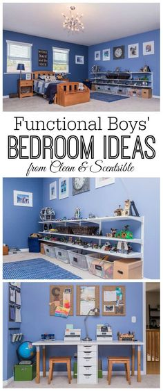 Great ideas for creating a fun and functional boy's bedroom! // from Clean and…