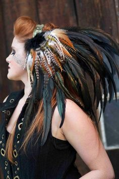 Reserved- Isha Feather Headdress - Reserved for Christina - Mookielove. This headpiece is beautiful! Tribal Fusion, Larp, Corsets, Feather Headdress, Crow Feather, Feather Duster, Moda Vintage, Jolie Photo, Costume Makeup