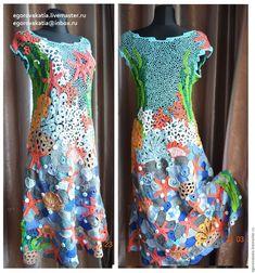 """Купить платье -""""коралловые рифы"""" - комбинированный, платье, платье летнее, платье вязаное, платье вечернее"""