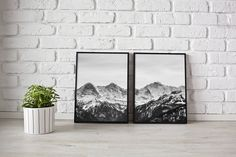 Mountain Wall Art - Black and white mountain print - mountain photography - landscape print - mountain print - Scandinavian print - mountain by LuxeArtPrints on Etsy