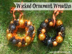 DIY Halloween Decor - Easy Ornament Wreaths #Halloween