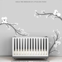 Baby Room Decals Kids Wall Decals White and Grey - Koala Tree Branches by LittleLion Studio by TheKoalaStore on Etsy https://www.etsy.com/listing/108729142/baby-room-decals-kids-wall-decals-white