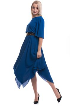 Rochie midi elegantă, cu talie elastică, model în colțuri în partea de jos, din material voal, model cloș. High Low, Model, Dresses, Fashion, Vestidos, Moda, Fashion Styles, Scale Model