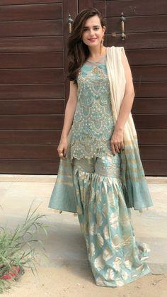 Buy Light Blue Color Sharara Suit by Akanksha Singh at Fresh Look Fashion Shadi Dresses, Pakistani Formal Dresses, Pakistani Wedding Outfits, Pakistani Dress Design, Indian Dresses, Indian Outfits, Pakistani Clothing, Eid Dresses, Brocade Dresses