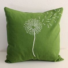 Green Dandelion Pillow Cover by MaDahms on Etsy